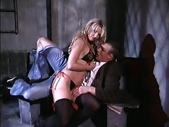 Stunning blonde sex bomb in black stocking bends over for a shag
