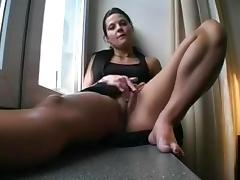 Chick fucked on the window sill