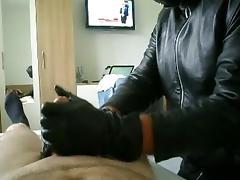 Leather gloved Bi Handjob