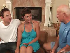 Bombastic pornstar Charlie James banged in front of two guys