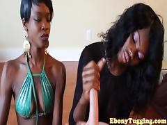 Nubian amateur jerking cock together
