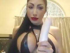 Hot ass babe sucking dildo showing off