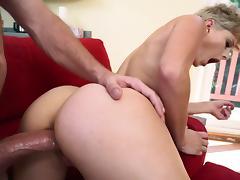 Blonde with fantastic ass works masive dick like a true pro