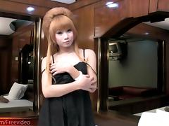 Intense solo session in the bedroom with a beautiful Asian t-girl
