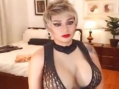 Big Juggs Tranny Faps her Cock on Cam