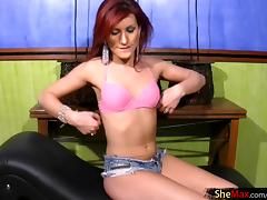 Gorgeous redhead t-girl unveils her fat dick and jerks it off