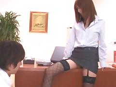 Curvy Asian doll pussy getting worked on with toys in the office