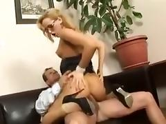 The secretary gives suck boss