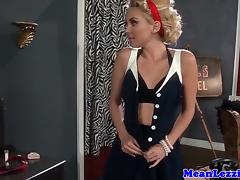 Pussylicking lesbian eats out classy babe