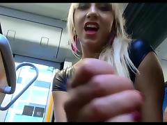 Train, Blonde, Handjob, Outdoor, Train