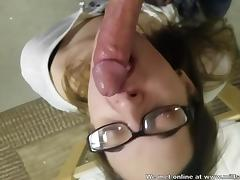 Horny collegegirl sucking my fat dick