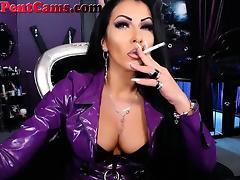 Hot Dominatrix Smoking A Cigarette On Webcam