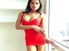 Ladyboy in red