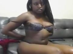 Squirting a fountain from her ebony pussy