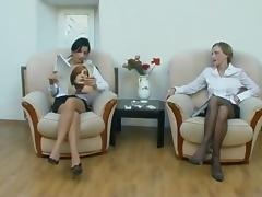 Lezdom strap on pantyhose 4