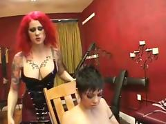 Dominant lesbian licking and dildoing