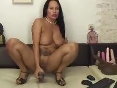Mature latina riding huge black dildo
