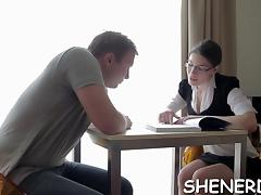 Nerdy honey fucks with her guy until she gets exhausted