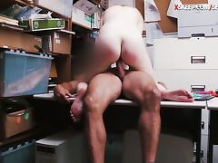 Shoplifter Dolly Leigh gives BJ and gets railed in LP office