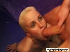 Little Slut with short blonde hair gets fucked hard