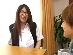 Large-titted teacher Amayoshi Shizuku gets bent over and fucked hard