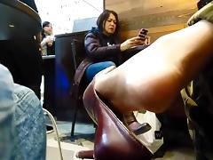 Candid public shoeplay (shoes sold)