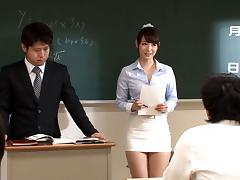 Cum-craving teacher's assistant Haruka gets her knees dirty