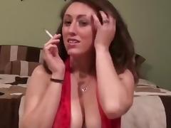 Sexy Brunette Smoking and Teasing