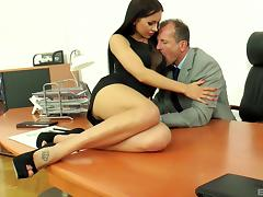 Outstanding office pussy drilling with his bimbo Sasha Rose