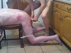 Tranny mistress whips slave
