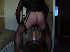 Fucking my dildo in fully fashioned nylons