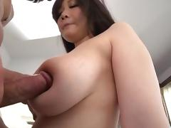 Busty Japanese bimbo gets the dick to play with