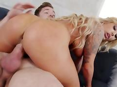 Tanned blonde gets the right treatment for her horny pussy