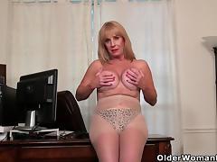 Blonde, American, Blonde, Granny, HD, Masturbation
