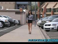 Marletta babe teen sexy brunette is seen walking a busy downtown area with a rather short dress
