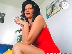 Big glass dildo for horny nude MILF