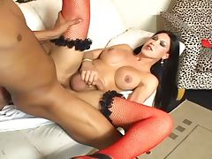 Filthy brunette tranny whacked hardcore in wet ass