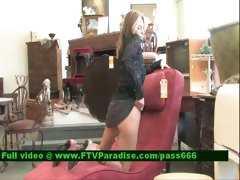 Brittni lovely blonde babe in a antique shop