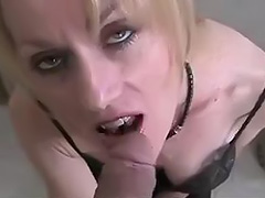Mature blonde giving a blowjob