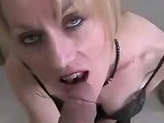 Mature blonde giving a blowjob