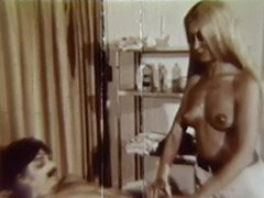 Leggy Blonde Teen with Perky Nipples Rides on Cock 1960