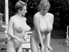 Two Busty Girls Shaking Boobs in Pool 1960 porn video