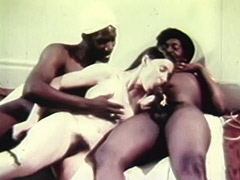Young White Teen Girl with two Older Black Dudes 1970 porn video