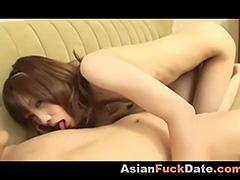 Japanese girl gives great blowjob
