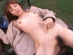 Stunning Miku Ohashi Asian blows and rides two big dicks outdoors