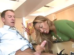Bella Moretti the horny mulatto gets fucked in the kitchen