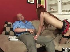 Sexy red haired babe Christian is a shemale with desires