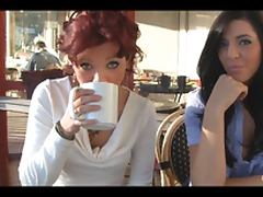 Two lesbian babes having lunch and then kiss outside the cafe