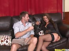 Sexy Leena Sky gets fucked hard on the leather sofa