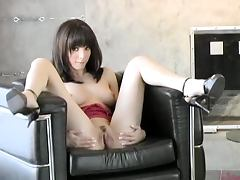 Doll Like Petite Brunette Teen Charlie Laine Playing with her Pussy